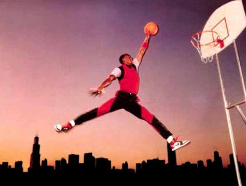COURTESY OF JACOBUS RENTMEESTER - Nike's photo of Michael Jordan eventually became the sports apparel giant's Jumpman logo.