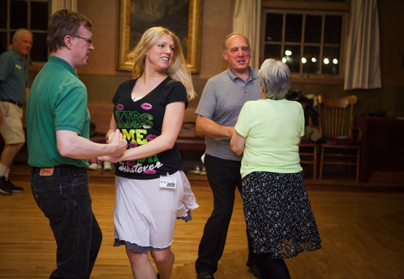 Photo Credit: TIMES PHOTO: ADAM WICKHAM - Students practice their Irish Ceili dance at Winona Grange in Tualatin.