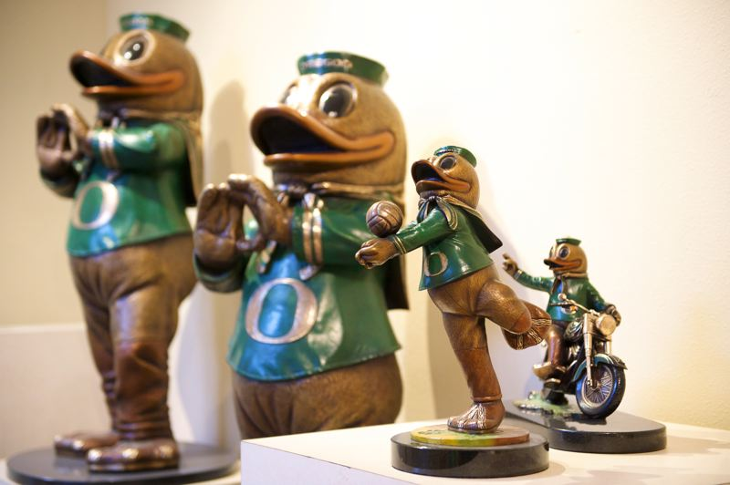 Photo Credit: OUTLOOK PHOTO: TROY WAYRYNEN - Alison Brown is licensed to reproduce the University of Oregon's famous mascot, Puddles, which are on display at the new Troutdale Art Center.