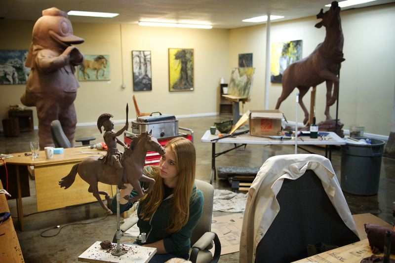 Photo Credit: OULTOOK PHOTO: TROY WAYRYNEN - Sculptor Alison Brown shares a large work space with multiple artists at the Troutdale Art Center.