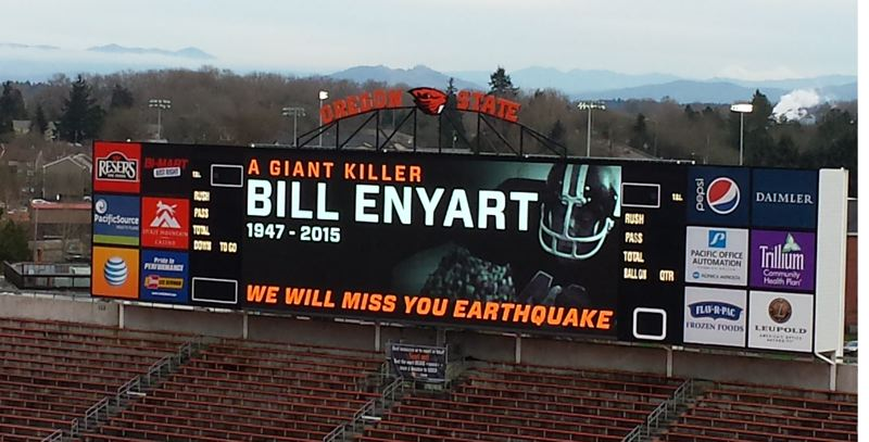 Photo Credit: COURTESY OF OREGON STATE UNIVERSITY - The scoreboard Tuesday at Reser Stadium in Corvallis salutes former Oregon State great Bill Enyart.