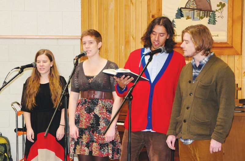 Photo Credit: PHOTO BY BILL VOLLMER - Ethos instructors Amanda Wyatt, left, Meaghan Russell, Din Huerta and Matt Hyslop performed this fall at a concert at the United Methodist Church.