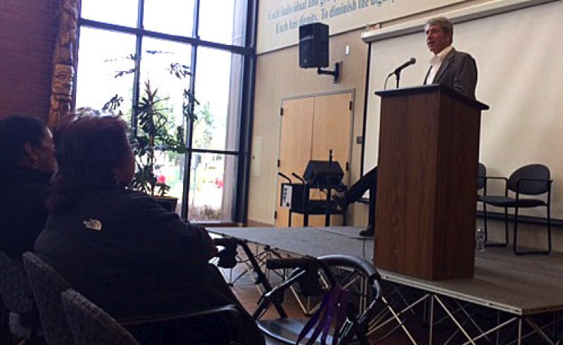 Photo Credit: TRIBUNE PHOTO: PETER WONG - U.S. Rep. Kurt Schrader told a small crowd in Salem Saturday that he believe the immigration fight is this generation's civil rights battle. Schrader, a Canby resident, is a Democrat representing Oregon's 5th Congressional District.