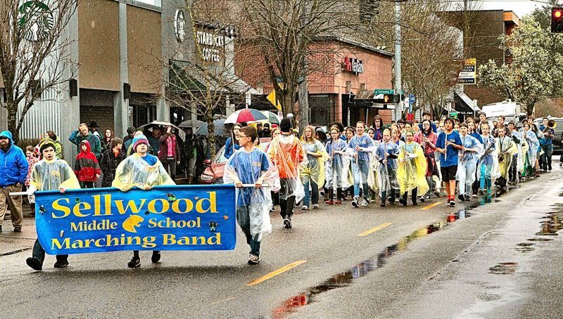 DAVID F. ASHTON - Here comes the Sellwood Middle School Band, up S.E. 13th Avenue northward in Sellwood.