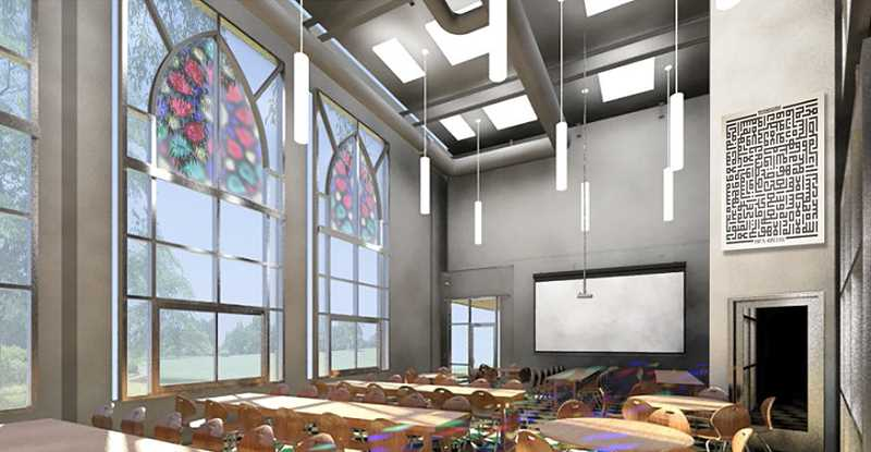 SUBMITTED PHOTO - Renderings show what the new Muslim Educational Trust community center will look like, complete with K-12 school, a museum and swimming pool.