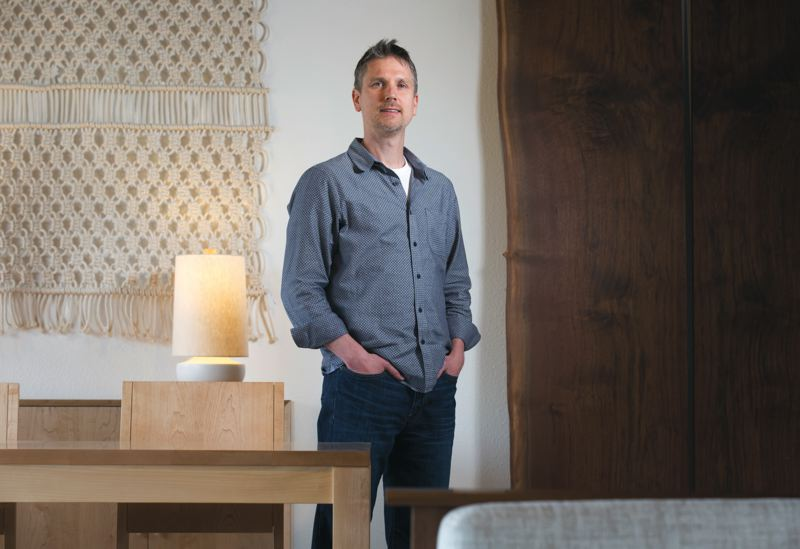 TRIBUNE PHOTO: JONATHAN HOUSE - Jon Blumenauer has been the CEO of The Joinery since 2013. The company specializes in furniture made from sustainable sources.