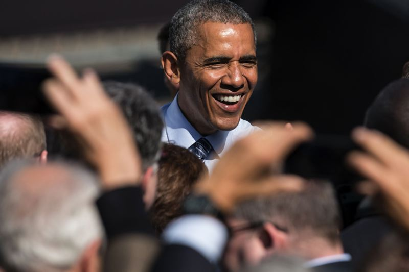 TRIBUNE PHOTO: JONATHAN HOUSE - President Barack Obama told a friendly crowd of about 2,100 people that businesses large and small would benefit from a proposed fast-track trade agreement working its way through Congress.