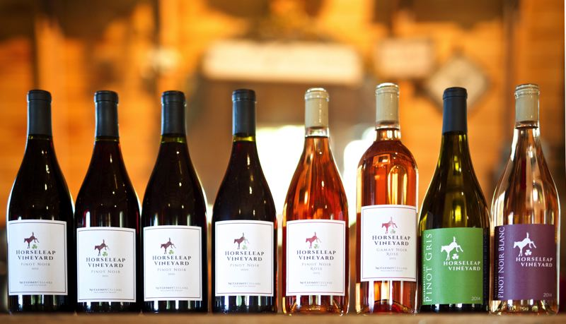 TIMES PHOTO: JAIME VALDEZ - A selection of Horseleap wine is featured at the McCleskey Cellars in Tigard.