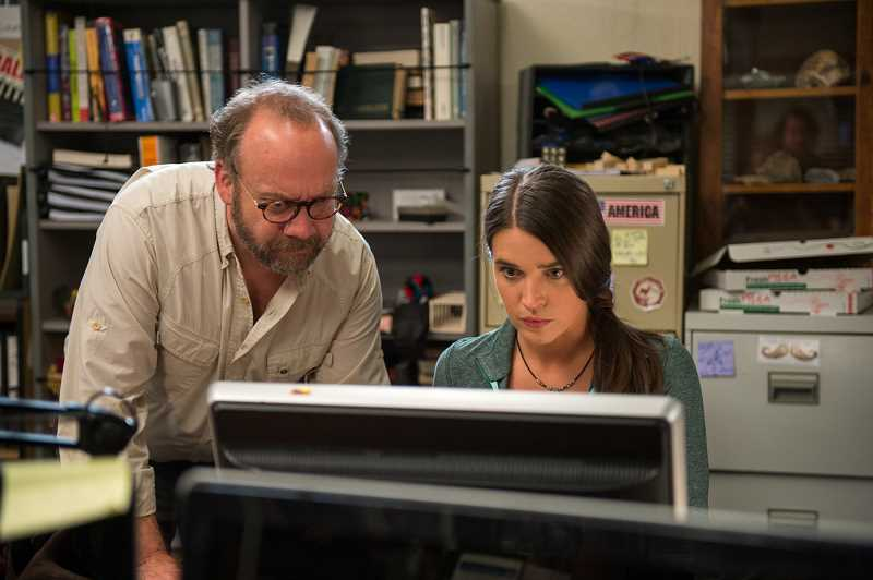 PHOTO BY JASIN BOLAND - Marissa Neitling, as Phoebe the scientist, is shown in San Andreas, now showing all over America. The eminent actor in the photo with her is Paul Giamatti.