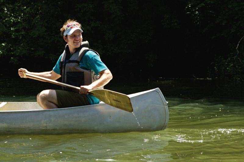 TIMES PHOTO: JAIME VALDEZ - Jim Holley leads a group of volunteers in a turtle survey upstream on the Tualatin River.