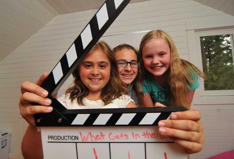 REVIEW PHOTO: VERN UYETAKE - Vittoria Corvelli (from left) Olivia Corvelli and Sophie Fowler are among a group of Riverdale Grade School students who collaborated on What Gets in the Way, a two-part film that offers tips for youngsters who find themselves in difficult situations.