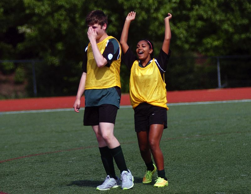 DAN BROOD - More celebration during the unified soccer match played at Tigard High School.