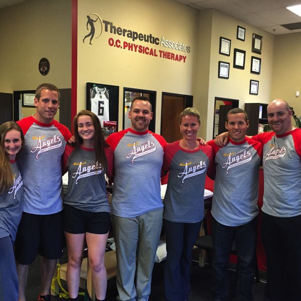 SUBMITTED PHOTO - Gathering at Oregon City Physical Therapy to support Drive for Five are Elizabeth Mertino (from left), Ryan Wells, Carly Levario (OCHS student athlete), Matt Rogers, Teryn Kaldheim, Anthony Saviola and Adam Fagan.