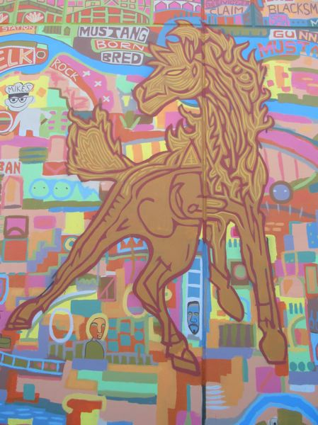 PHOTO BY ELLEN SPITALERI - This muscular horse is a centerpiece of the mural as well as a depiction of a mustang, the MHS mascot.