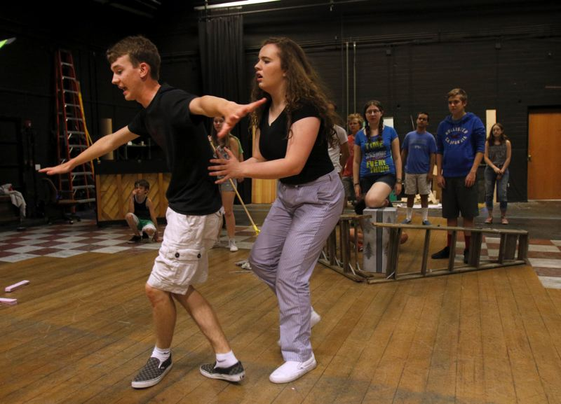 TIMES PHOTO: JONATHAN HOUSE - David VanDyke and Fiona McInnis play the Scarecrow and Dorothy, respectively, in Broadway Rose's Teen Summer Workshop rendition of 'The Wizard of Oz.'