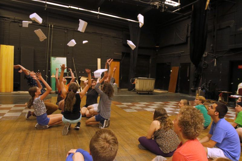 TIMES PHOTO: JONATHAN HOUSE - The Explosions Group practices during rehearsal for 'The Wizard of Oz.'