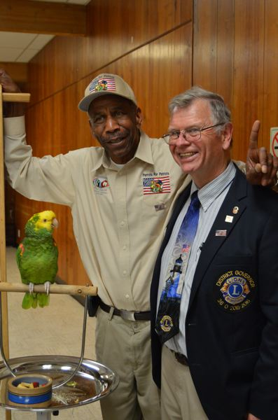 COURTNEY VAUGHN - Chris Driggins (left) meets with Hank Calhoun, governor of the Northwest district of the Lions Club, during a Lions Club meeting in St. Helens. Driggins started Parrots for Patriots recently.