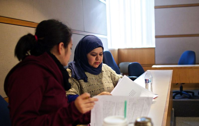 TRIBUNE FILE PHOTO - Juanita Bibian and Hanan Buathab, both students at Portland State University, study for a class in January at the School of Business Administration. A remodel of the building will break ground this fall in part through $19 million in private donations.