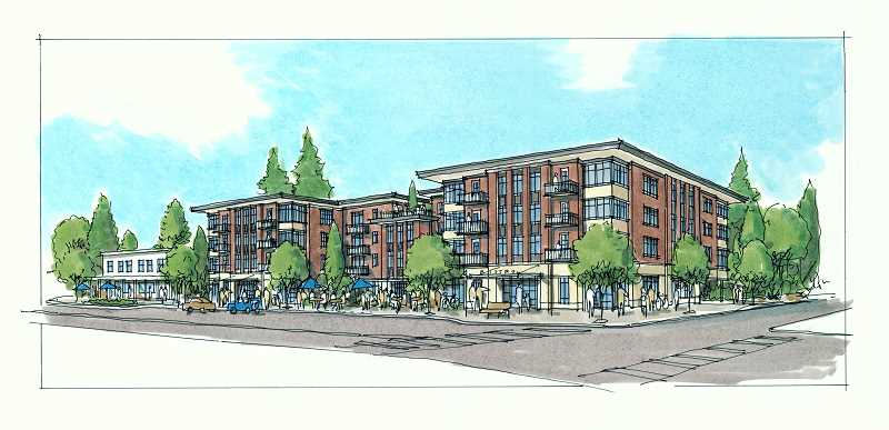 COURTESY OF URBAN ASSET ADVISORS - A preliminary drawing from SERA Architects shows the proposed four-story apartment and retail complex that Urban Asset Advisors is planning for the corner of Southwest 33rd Avenue and Southwest Capitol Highway in Multnomah Village.
