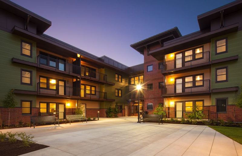 COURTESY OF ANKROM MOISAN ARCHITECTS - Courtyard of Orchards at Orenco, an affordable housing project on the MAX line in Hillsboro.