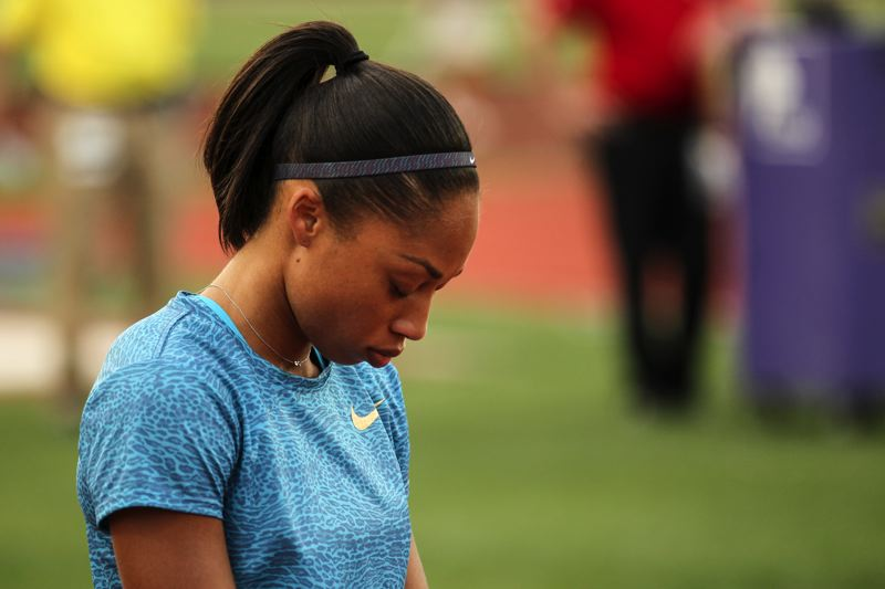 TRIBUNE FILE PHOTO: DAVID BLAIR - Olympic and world champion Allyson Felix loves the idea of Portland being the host of the 2016 U.S. and World Indoor championships, but she still has to figure out if she'll compete.