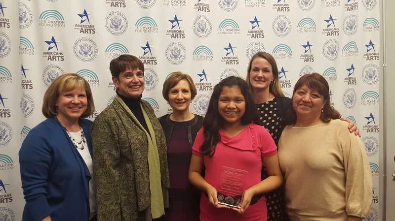 COURTESY PHOTO - From left  Sharon Angal, Janis Hill, Rep. Suzanne Bonamici, Leslye Gonzalez, Christy Walters and Soledad Gonzalez pose after reciving recognition for Quatama Elementary Schools outstanding STEAM program.