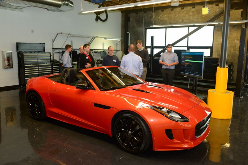 COURTESY JAGUAR LAND ROVER - A new Jaguar F-Type sits in the Jaguar Land Rover Lab at 1419 NW 14th Avenue in the Pearl District. This test model was modified with a special dashboard for testing the companies infotainment offerings, which are not expected to be in cars for a couple of years.