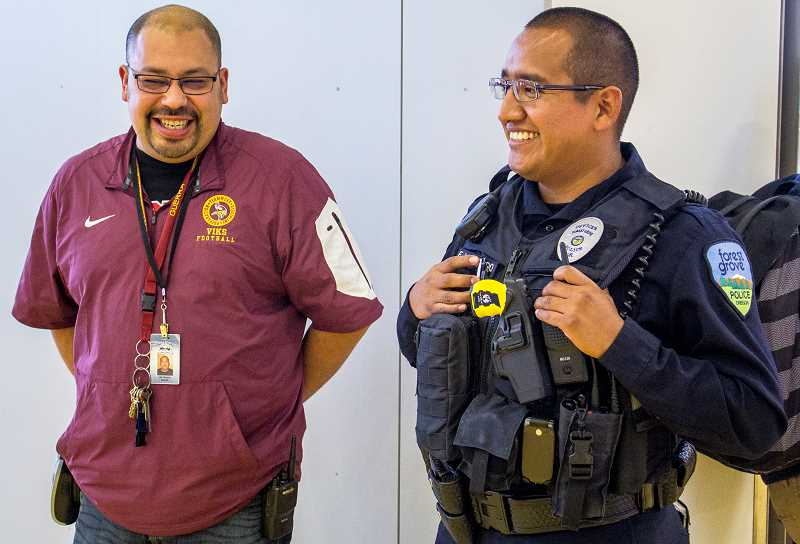FGHS Campus Security Guard Joe Guerra (left) shares a laugh with Ernesto Villaraldo during the schools second lunch break. Guerra is an extra pair of eyes, helping Villaraldo keep watch over the schools 2,000 students.