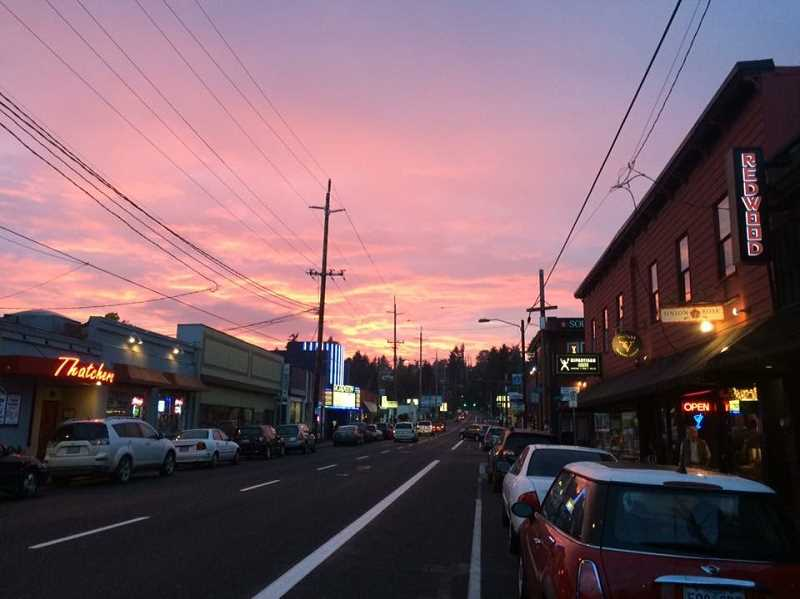 COURTESY: MONTAVILLA/EAST TABOR BUSINESS ASSOCIATION/STEPHEN RICE - Montavilla, shown here at sunset, is one of the six East Portland business districts that will get a boost from the city's year-long pilot project.
