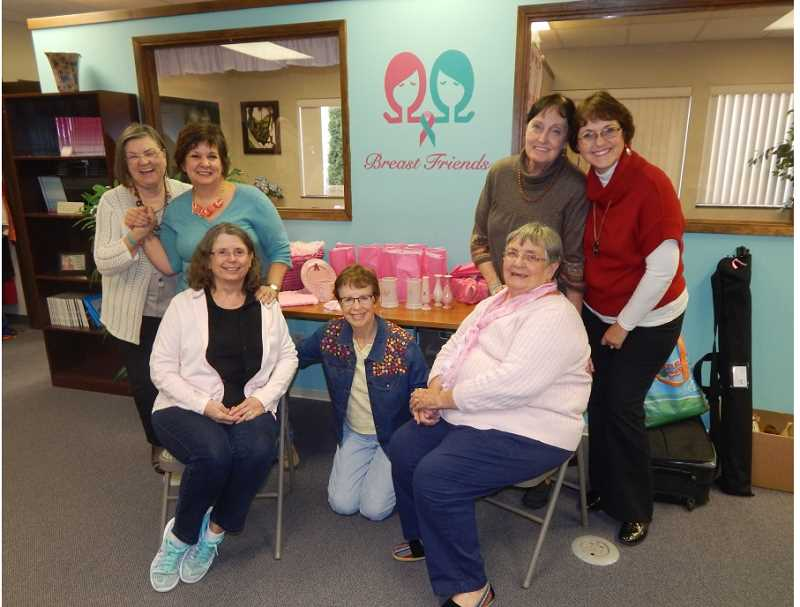 BARBARA SHERMAN - Sharing stories and more than a few laughs at Breast Friends during a visit are (from left) Dee Schiavone, Breast Friends' Becky Olson, Elaine Gelfand, Lou Jean DeVito, Pat Boyd, Carlene Simmering and Breast Friends' Sharon Henifin.