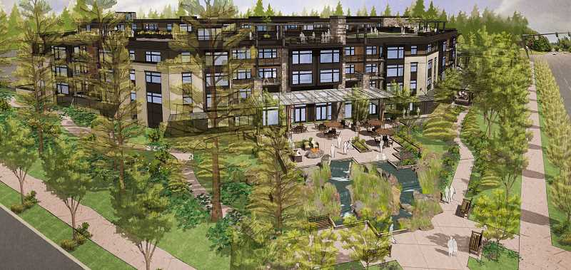 SUBMITTED PHOTO - An artist's rendering prepared for Myhre Group Architects offers an aerial view of the proposed Springs at Lake Oswego, looking northwest from the corner of Boones Ferry Road and Kruse Way.