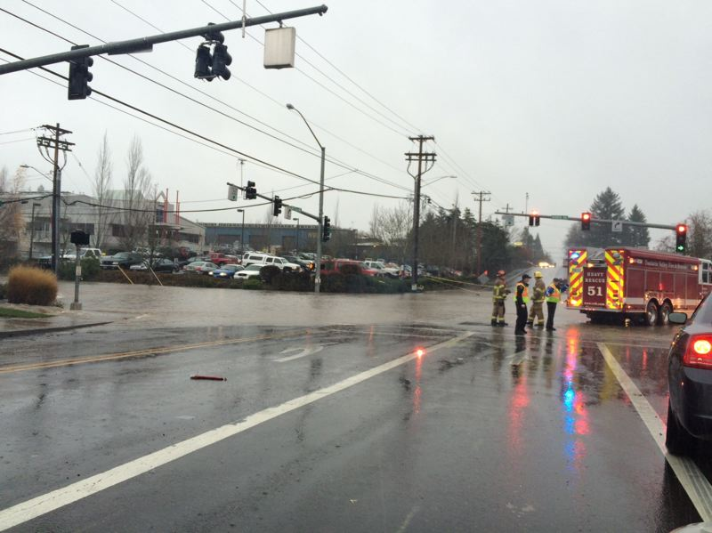 COURTESY OF TVF&R - Tualatin Valley Fire & Rescue crews blocked the flooded intersection at Southwest 72nd Avenue and Bonita Road Monday afternoon.