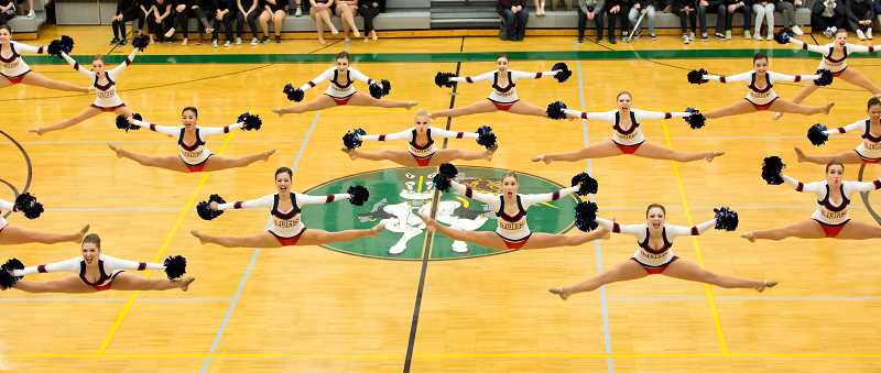 SUBMITTED PHOTO: JAMES MCGREW - LOHS pocketed first in Large Pom for the fifth year in a row during the Dance & Drill Coaches Association of Oregon Category Championships.