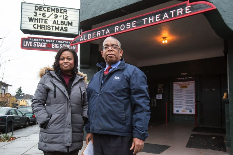 PORTLAND TRIBUNE PHOTO: JONATHAN HOUSE - Albert Street Project Field Supervisor Deborah Moore and Project Co-director Michael 'Chappie' Grice in front of the building that once housed Portland's first African-American owned movie theater, the Alberta Cinema. It is now home to the Alberta Rose Theater.