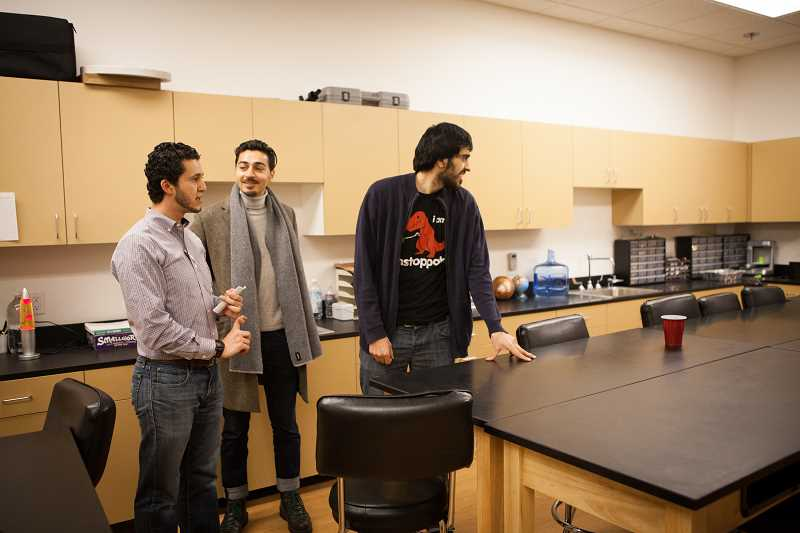 ADAM WICKHAM - Mohamed Alyajouri, Outreach Committee Chair with the Muslim Educational Trust, leads a tour in the science labs at the new MET school and community center on Friday evening. MET students moved into the new school in September.