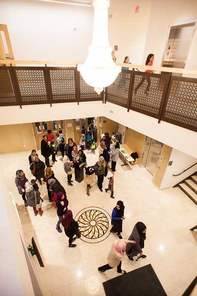 TIMES PHOTO: ADAM WICKHAM - The foyer of the new Muslim Educational Trust community center on Scholls Ferry Road. The building includes a public swimming pool, art gallery and event space.