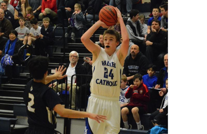 TIMES FILE PHOTO - Valley Catholic's Colin Haggerty is one of three 6-foot-5 or taller posts who give the Valiants a huge size advantage inside.
