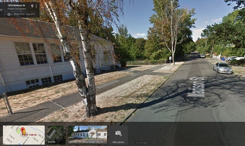 PHOTO COURTESY: GOOGLE MAPS - The Oregon City School District violated the city's tree code by cutting down these birch trees (shown in August) without a permit in November.