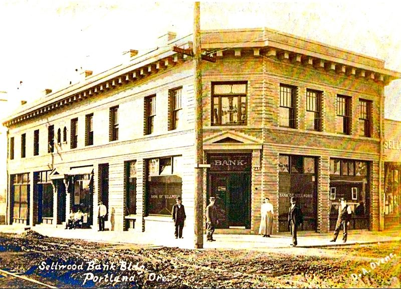 COURTESY OF SMILE HISTORY COMMITTEE - The neighborhoods first bank, the Sellwood Bank, at 13th and S.E. Umatilla, opened in 1907. This two story building with light tan bricks housed medical and dental offices on the second floor. Today Arch Fitters is the tenant on the ground floor.
