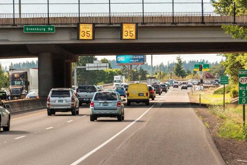COURTESY OF ODOT - New real-time speed signs have helped reduce traffic problems on Highway 217, according to a new Oregon Department of Transportation study after a year of the signs use.
