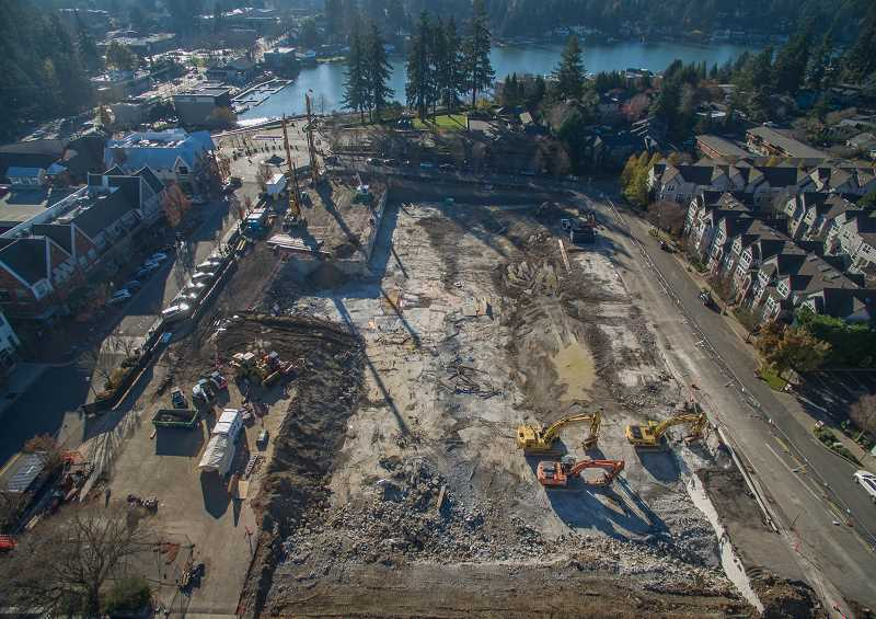 CLIFFORD PAGIUO/FOR THE REVIEW - When it is completed, the mixed-use development on the Wizer Block in downtown Lake Oswego will include 200 apartments and about 40,000 square feet of commercial space.