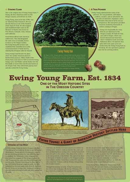 SUBMITTED PHOTO - The information board includes the bulk of history surrounding Oregons first American settler, Ewing Young.