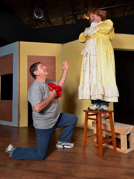 CONTRIBUTED PHOTO - George Farquhar plays Romeo as Jim Lamproe portrays Juliet in Sandy Actors Theatres newest comedy.