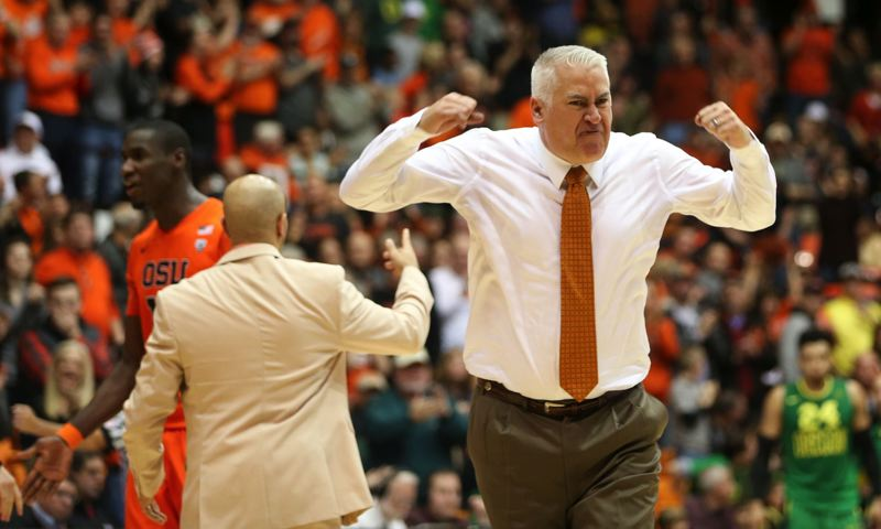 TRIBUNE PHOTO: DAVID BLAIR - Oregon State coach Wayne Tinkle explains what went into the four-game suspension of Beavers forward Jarmal Reid.