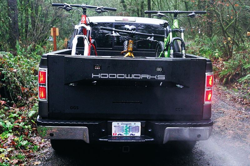 COURTESY: HOODWORKS - Three off-road bicycles secured via a Hoodworks GearGate.