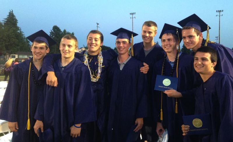 COURTESY: SCHLATTER FAMILY - AJ Schlatter (third from left) and friends at Canby High graduation.