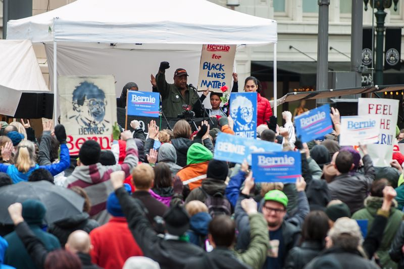 TRIBUNE PHOTO: DIEGO DIAZ - Portland's Black Lives Matter offered support to Sen. Bernie Sanders' presidential run during Saturday afternoon rally in downtown Portland.
