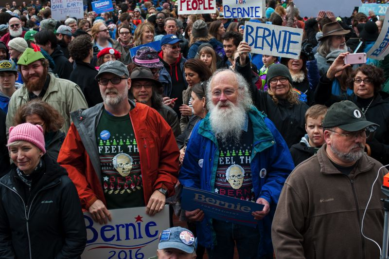 TRIBUNE PHOTO: DIEGO DIAZ - Hundreds of people rallied Saturday afternoon in downtown Portland to support Sen. Bernie Sanders' run for president.