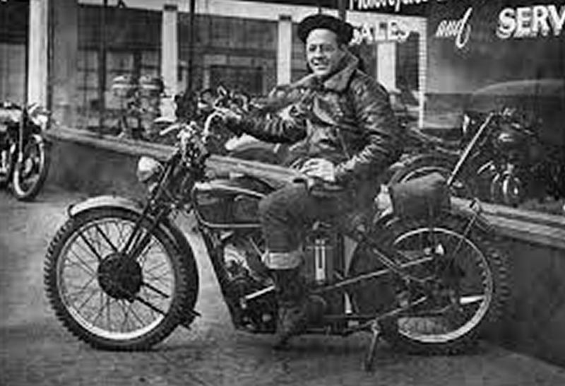 PHOTO COURTESY OF LANGLITZ LEATHERS - Ross Langlitz is shown on the right, and an unidentified riding buddy is at left. Ross was one of the first craftsman to create custom leather jackets and pants for motorcyclists; back then, in the 1940s, most leather jackets were designed for aviators, not bike riders.