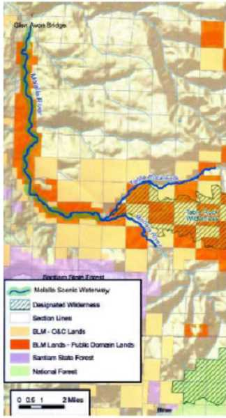 BLM - Map of Molalla River Scenic Waterway